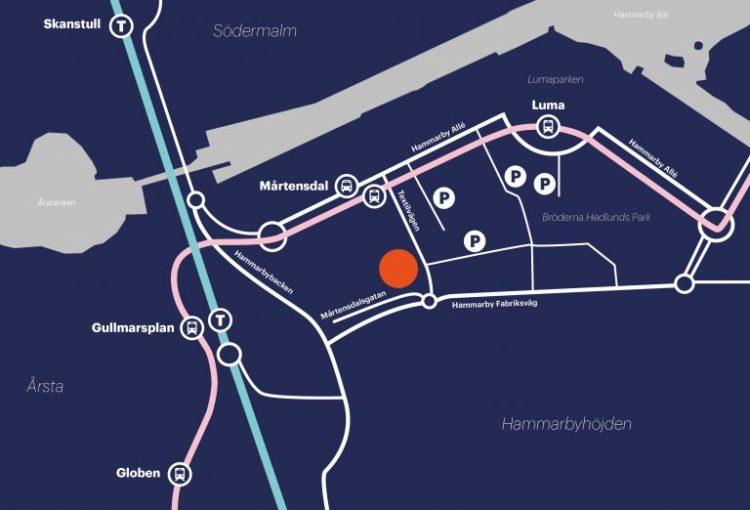 Karta med väg till Fryshuset i Hammarby Sjöstad