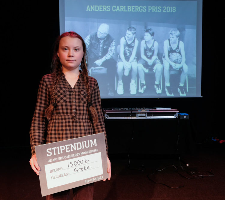 Greta Thunberg när hon tog emot Anders Carlbergs minnespris 2018