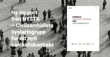 """Nu släpps NYSTA-rapporten: """"Stärkta förutsättningar för civilsamhället"""""""