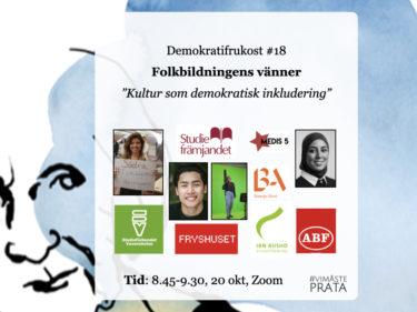 Onsdag 20/10 deltar Vänd oss inte ryggen på Demokratifrukost #18
